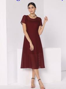 芮色酒红色连衣裙